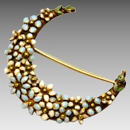 Antique Victorian 14k gold white blue enamel floral crescent moon brooch pin