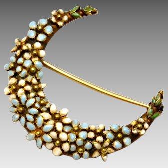 Antique Victorian 14k gold white blue enamel floral crescent moon brooch pin