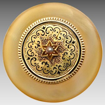 Antique Victorian 14k gold cream agate black enamel pearl round brooch pin