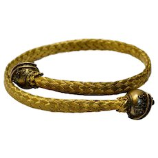 Antique Victorian gold filled Etruscan Revival ball terminal woven crossover bracelet