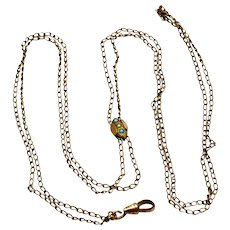 Antique Victorian gold filled glass turquoise pearl watch slide and chain necklace