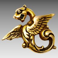 Antique Victorian 10k gold dragon or griffin brooch pin