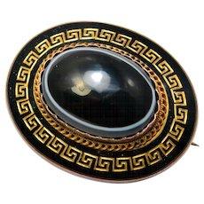 Antique Victorian 14k gold bullseye agate cab black enamel greek key patterned mourning locket back brooch pin