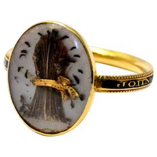 Antique Georgian 1779 14k gold sheaf of wheat hairwork under crystal black enamel band ring