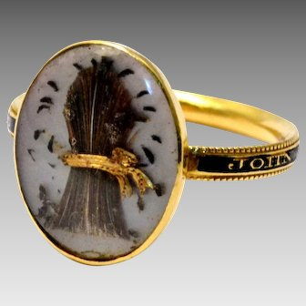 Antique Georgian 1779 14k gold sheaf of wheat hairwork under crystal black enamel band ring