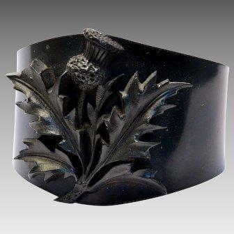 Antique Victorian wide Vulcanite thistle cuff bracelet