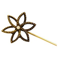 Victorian 14k gold hallmarked pearl flower hinged top hat pin brooch