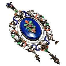 Renaissance Revival large Germany sterling silver hallmarked enamel paste blue glass pendant