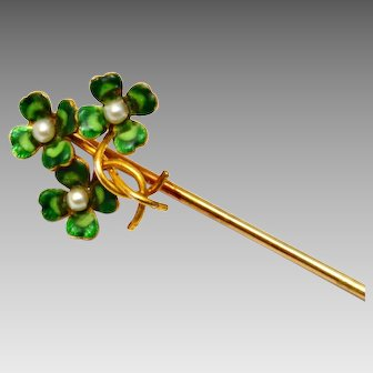 Antique Victorian 14k gold hallmarked enamel pearl four leaf clover bouquet stick pin brooch