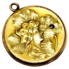 Art Nouveau W & H Co signed gold filled repousse rhinestone lady and clover locket pendant