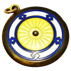 Edwardian gold filled blue white yellow guilloche enamel pearl locket pendant