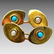 Antique Victorian 15ct gold hallmarked turquoise pearl cab oval cuff links