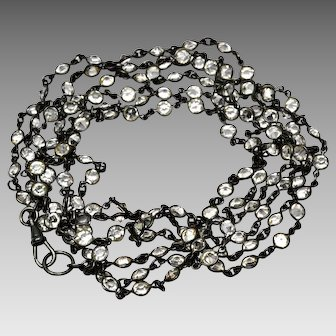 Antique Victorian gunmetal 136 open back bezel crystals 60+ inch long guard or muff chain