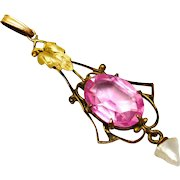 Antique Edwardian gold filled pink glass stone pearl drop lavaliere pendant