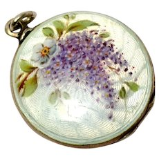 Antique Edwardian Victor Mayer 935 silver hallmarked white enamel painted wisteria flower locket pendant