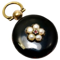 Antique Victorian 14k gold black enamel pearl ruby locket back pendant