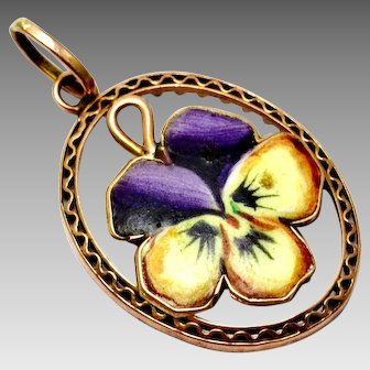 Antique Victorian 10k rose gold purple yellow enamel pansy oval pendant