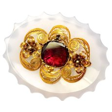 Antique Georgian 14k gold cannetille chalcedony flat cut foil backed garnet brooch pin