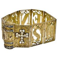 Antique Victorian brass and paste cross 'souvenir' book bracelet
