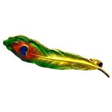 Art Nouveau Krementz 14k gold hallmarked enamel peacock feather lingerie pin brooch