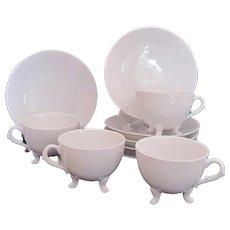 Antique Demitasse Cup Saucer Sets 4 Footed Cups 6 Saucers c.1885 P.H.Leonard