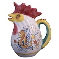 Williams Sonoma Majolica Rooster Pitcher Grande Cuisine Collection Made in Italy