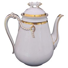 Antique Haviland Limoges Teapot Coffee Pot Rope Design Gold White c.1876