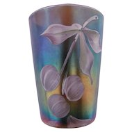 Northwood Carnival Glass Tumbler Cobalt Blue Hand Painted Cherries & Flowers