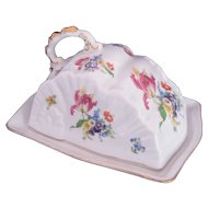 DRESDEN Flowers Covered Butter Dish Cheese Keeper