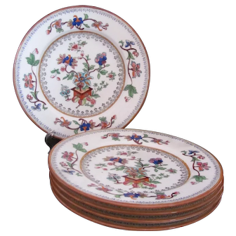 Antique Coalport Five Flower Pot Plates Bread and Butter Filigree c.1891