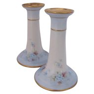 Limoges Candlesticks Candle Holders Hand Painted Martial Redon c.1905