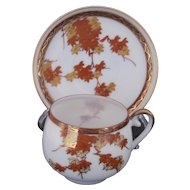 Demitasse Cup and Saucer Orange Gold Leaf Pattern Japan