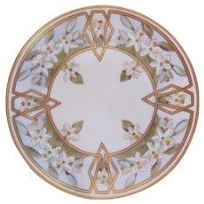 Pickard Art Deco Plate White Violets Artist Signed Anton Beutlich c.1910-12