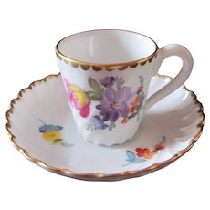 Nymphenburg Miniature Toy Cup Saucer Dresden Flowers