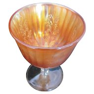 FENTON Holly Carnival Glass Goblet Sherbet Marigold