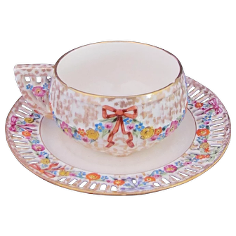 Dresden Cup and Saucer Pierced Edge and Handle Max Roesler c.1895