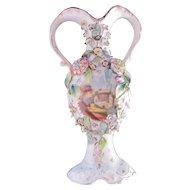 Old Paris Porcelain Handled Urn Vase Applied Encrusted Flowers c.1770-1870