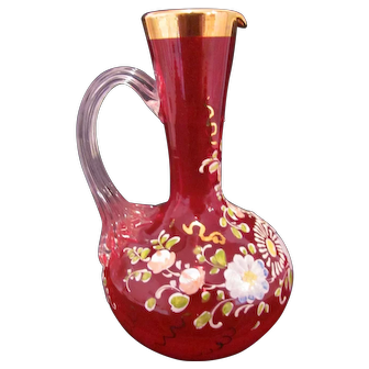 Stained Flashed Glass Ruby Red Pitcher Decorated Hand Painted Flowers