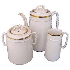 Limoges Teapot Coffee Set Pot Sugar Bowl Creamer Haviland Anchor Rope Design