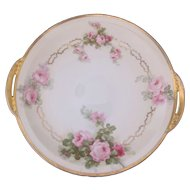 Rose Cake Plate Beyer & Bock Royal Rudolstadt Prussia Antique c.1905-1920