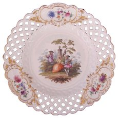 Meissen Dresden Plate Marcolini Pierced Reticulated Border Watteau c.1774 (A)