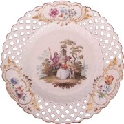 Meissen Dresden Plate Marcolini Pierced Reticulated Border Watteau c.1774 (B)