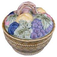 Erphila Majolica Covered Fruit Bowl Made in Czechoslovakia Vintage