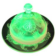 EAPG Opalescent Vaseline Glass Butter Dish Wreath and Shell Model Flint Manila
