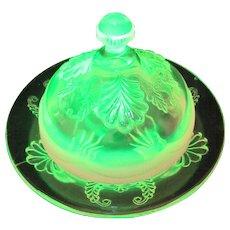 EAPG Opalescent Vaseline Glass Butter Dish Wreath and Shell Model Flint Manila