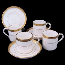 Demitasse Cup Saucer Mintons for Tiffany & Co. Four Sets Gold White c.1900