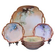 Ginori Limoges Berry Bowl Salad Set Hand Painted Signed Master & 6 Individual