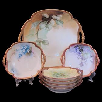 Ginori Limoges Berry Bowl Salad Set Hand Painted Signed Master & 6 Individual
