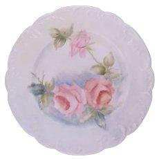 Limoges Haviland Rose Plate Hobbyist Hand Painted Signed Antique c.1888