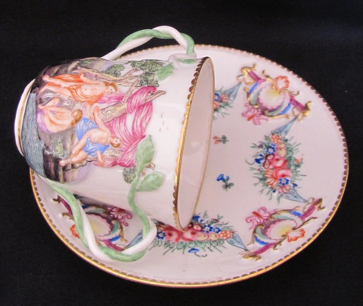 Antique Capodimonte Cup Saucer Crown N Twisted Vine Double Handles